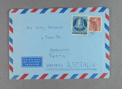 Envelope addressed to Shirley Strickland, 26 October 1953
