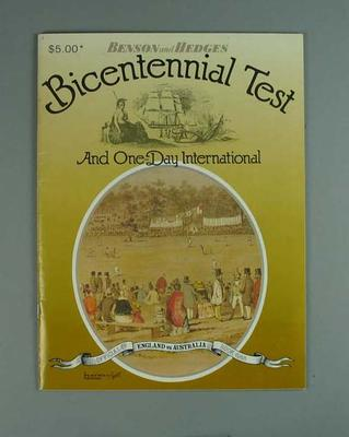 Programme, Benson and Hedges Bicentennial Test and One-Day International - 1988