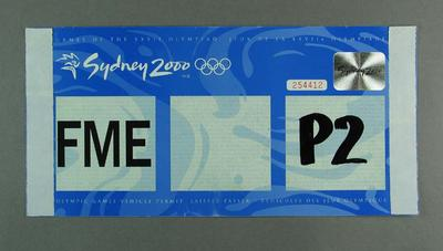 Vehicle permit used during Olympic Soccer at MCG, 2000 Sydney Olympics