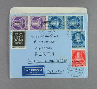 Envelope addressed to Shirley Strickland, 1953