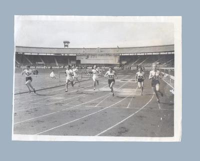 Photograph of Shirley Strickland winning 100 yards event, Post-Olympic British Games 1952