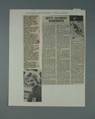Newspaper clippings x 2 on sheet of paper -  athlete Betty Cuthbert; Documents and books; 2000.3691.87