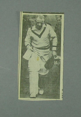 Newspaper clipping, photograph of Don Bradman - Australia v Hampshire, 1930