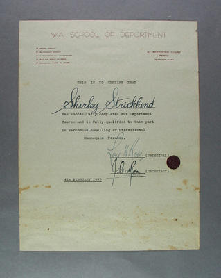 Certificate awarded to Shirley Strickland by WA School of Deportment, 4 Feb 1955