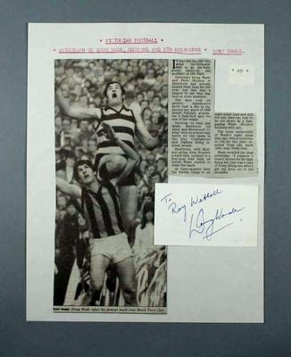 News clipping and autograph adhered to single sheet - Doug Wade, Victorian Football, Geelong and North Melbourne; Documents and books; 2000.3691.90
