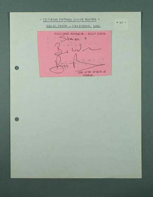 Autograph of Collingwood footballer Billy Picken adhered to sheet of paper