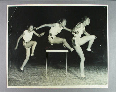 Photograph showing Shirley Strickland's hurdling technique, 6 May 1955