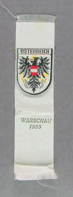 Cloth badge of Austrian team, International Friendly Sports Meeting of Youth 1955