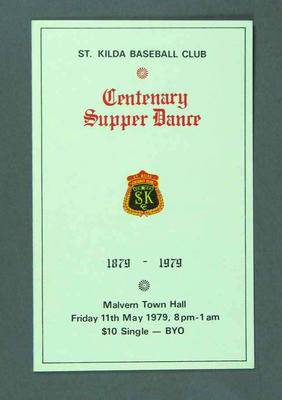 Invitation to St Kilda Baseball Club Centenary Supper Dance, 11 May 1979