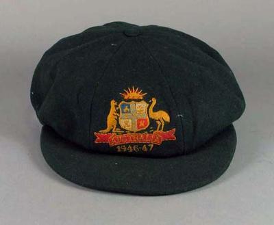 Baggy green cap worn by Ian Johnson, 1946-1947