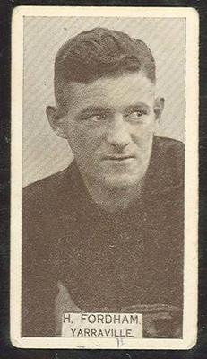 1933 Will's Footballers H Fordham trade card; Documents and books; 1991.2448.3