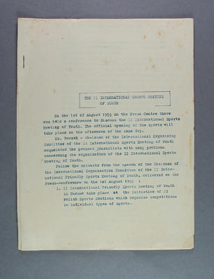 Press release from International Friendly Sports Meeting of Youth, 1 August 1955