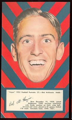 1953 Argus Football Portrait Bob McKenzie trade card