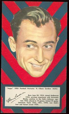 1953 Argus Football Portrait Denis Cordner trade card