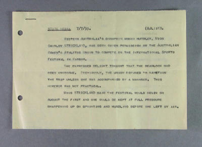 Copy of ABC News Service item regarding Shirley Strickland travelling to Poland, 7 July 1955