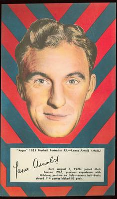 1953 Argus Football Portrait Lance Arnold trade card