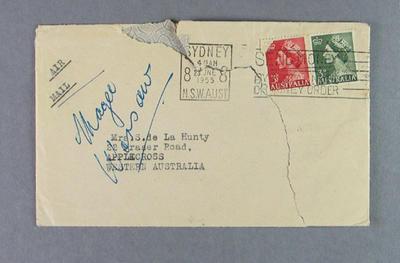 Envelope addressed to Shirley de la Hunty, June 1955