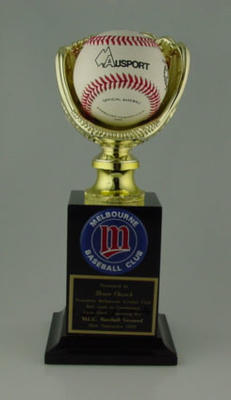 Trophy presented to Bruce Church by MCC - Baseball Section, 26 September 1999