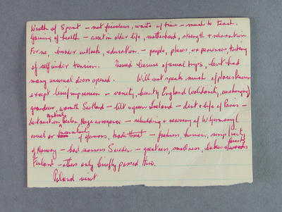 Draft notes made by Shirley Strickland for speech on her return from Poland, 1955