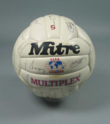 White Autographed 1985 Soccer Ball
