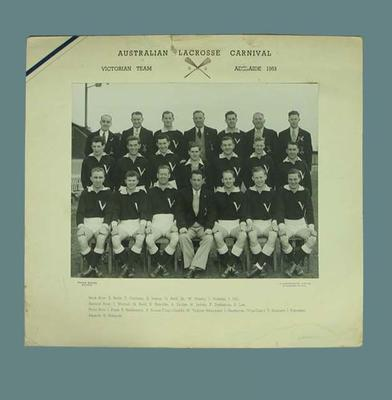 Black and white photograph, Australian Lacrosse Carnival, Victorian Team, Adelaide 1953