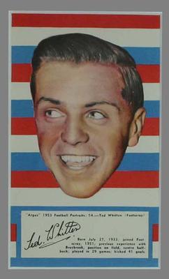 1953 Argus Football Portrait Ted Whitten trade card