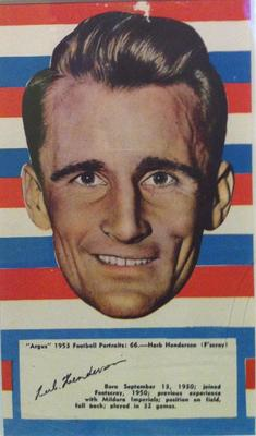 1953 Argus Football Portrait Herb Henderson trade card