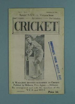 "Magazine, ""Cricket"" - vol 1 no 3, Dec 1924; Documents and books; 1988.2008.9"