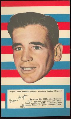 1953 Argus Football Portrait Dave Bryden trade card