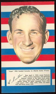 1953 Argus Football Portrait Charlie Sutton trade card