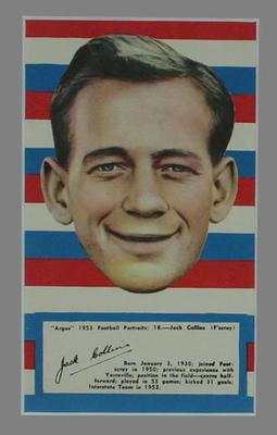 1953 Argus Football Portrait Jack Collins trade card