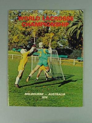 Programme - World Lacrosse championships, Melbourne 1974