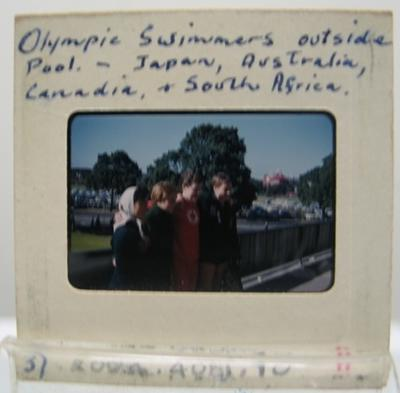Transparency titled 'Olympic Swimmers outside pool ...' - 1956 Melbourne Olympic Games