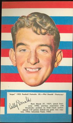 1953 Argus Football Portrait Wal Donald trade card