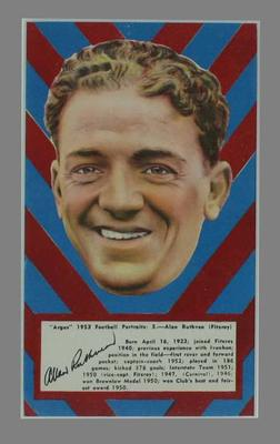 1953 Argus Football Portrait Alan Ruthven trade card