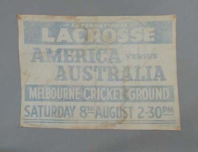 Banner - International Lacrosse America  v Australia at the M.C.G. 8th August