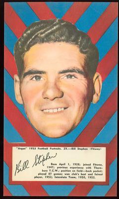 1953 Argus Football Portrait Bill Stephens trade card