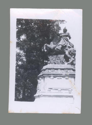 Photograph depicting statue of King of Poland, c1955