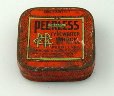 Typewriter ribbon tin and lid, Peerless brand