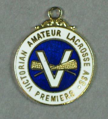 Victorian Amateur Lacrosse Association premiers badge c 1980s