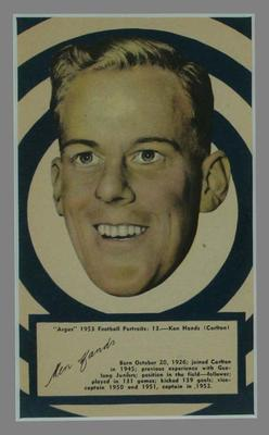 1953 Argus Football Portrait Ken Hands trade card