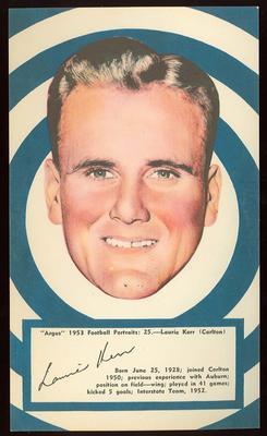 1953 Argus Football Portrait Laurie Kerr trade card