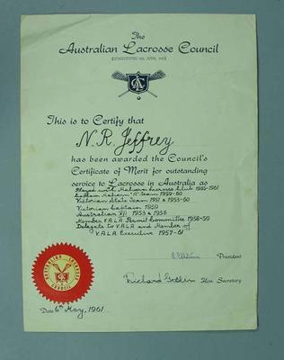 Australian Lacrosse Council Certificate of Merit awarded to N.R. Jeffrey 6 May 1961