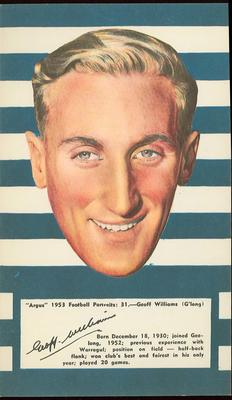 1953 Argus Football Portrait Geoff Williams trade card