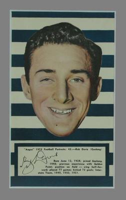 1953 Argus Football Portrait Bob Davis trade card