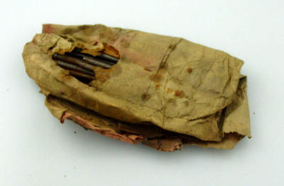 Paper bag, contains nails; Sporting equipment; M10196
