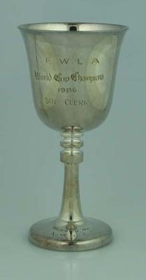 IFWLA World Cup Champions 1986 trophy, presented to Sue Clerk by AWLC