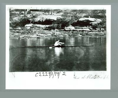 Photograph of Edward Trickett pulling Wager-Boat, c1879