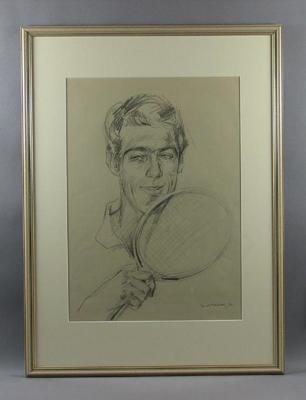 Original framed sketch of Geoff Hunt  signed by artist Louis Kahan 1972