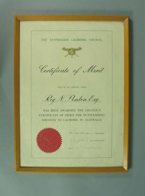 Australian Lacrosse Council Certificate of Merit, awarded to Reg Ponton